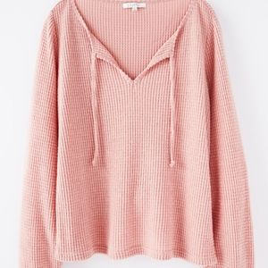 Z Supply Larissa Pink Thermal Longsleeve Top NWT